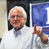 Bernie!, 2016, watercolor and colored pencil on mixed media board, 9? x 8? (based on photo by Phil Roeder)