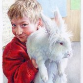 Ira & the First Grade Rabbit, 2014, colored pencil, 9.5? x 6.5?